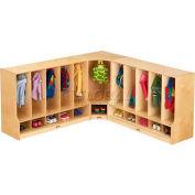 """Jonti-Craft® Toddler Corner Coat Locker w/Step w/o Tray, 24""""W x 17-1/2""""D x 35""""H, Birch Plywood"""