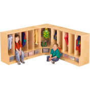 "Jonti-Craft® Toddler Corner Coat Locker w/Clear Tray, 24""W x 17-1/2""D x 35""H, Birch Plywood"