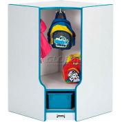 "Jonti-Craft® Toddler Corner Seat Locker w/Tray, 23-1/2""Wx17-1/2""Dx35""H, Gray/Blue Edge"