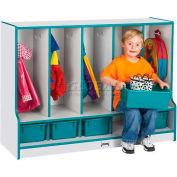 "Jonti-Craft® Toddler Seat Coat Locker, 5 Wide, w/Trays, 48""Wx17-1/2""Dx35""H, Gray/Red Edge"
