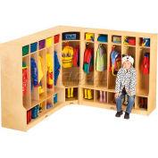 """Jonti-Craft® Kid Seat Corner Coat Locker, 24""""W x 17-1/2""""D x 50-1/2""""H, Birch Plywood"""