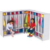 """Jonti-Craft® Kid Corner Seat Coat Locker, 24""""W x 17-1/2""""D x 50-1/2""""H, Gray Laminate, Blue Edge"""