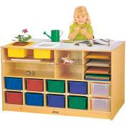 """Jonti-Craft® Mobile Storage Island, Twin w/Colored Trays, 48-1/2""""W x 29""""D x 29""""H, Birch Plywood"""