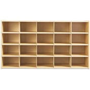"Young Time 20 Cubbie Storage, Without Trays, 48""W x 15""D x 26-1/2""H, Maple Laminate, Unassembled"
