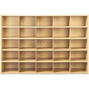 "Young Time 25 Cubbie Storage, Without Trays, 48""W x 15""D x 32-1/2""H, Maple Laminate, Assembled"