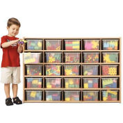 "Young Time 25 Cubbie Storage, With Clear Trays, 48""W x 15""D x 32-1/2""H, Maple Laminate, Unassembled"