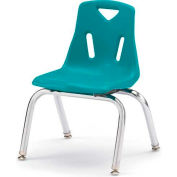 "Jonti-Craft® Berries® Plastic Chair with Chrome-Plated Legs - 12"" Ht - Teal"