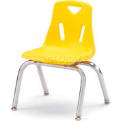"Jonti-Craft® Berries® Plastic Chair with Chrome-Plated Legs - 12"" Ht - Yellow"