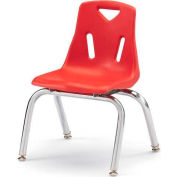 "Jonti-Craft® Berries® Plastic Chair with Chrome-Plated Legs - 14"" Ht - Set of 6 - Red"