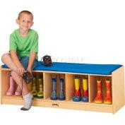 "Jonti-Craft® Kid Bench Locker , 5 Wide, Blue Cushion, 48""W x 15""D x 16""H, Birch Plywood"