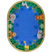 "Joy Carpets Jungle Friends™ Classroom Carpets 3'10"" x 5'4"" Oval, Multi - 1579BB"