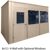 Porta-King Inplant Office, Vinyl Cov Drywall, 8x8', 4-Wall, Class A Fire & STC31 Sound, Beige