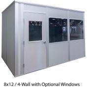 Porta-King Inplant Office, Vinyl Cov Drywall, 8x12', 4-Wall, Class A Fire & STC31 Sound, Gray