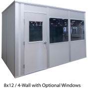 Porta-King Inplant Office, Vinyl Covered Hardboard, 8x12', 4-Wall, Class C Fire & STC27 Sound, Gray