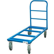 """Jescraft™ Flat Dolly & Handle FDH-2436PL8-4S - 24 x 36 - 8"""" Polyolefin Casters - 3000 Lbs."""