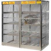 "Justrite Horizontal, 16 Cylinder, Aluminum Storage Cabinet, 60""W x 32""D x 65""H"