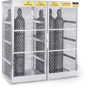 "Justrite Vertical, 10-20 Cylinder, Aluminum Storage Cabinet, 60""W x 32""D x 65""H"