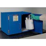 "Justrite 6 x 2-1/2 Liter Bottle Cap., Wood Laminate Storage Acid Cabinet, 24""Wx 6""Dx18-1/2""H, Blue"