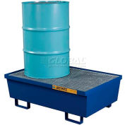 Justrite® 28610 2 Drum Steel Pallet, Blue