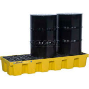 Justrite® 28628 3 Drum EcoPolyBlend™ Yellow Spill Control Pallet with Drain