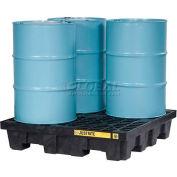 Justrite 28635 4 Drum EcoPolyBlend™ Spill Control Square Pallet, Black