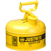 Justrite® Type I Steel Safety Can, 1 Gallon (4L), Self-Close Lid, Yellow, 7110200