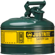 Justrite® Type I Steel Safety Can, 1 Gallon (4L), Self-Close Lid, Green, 7110400