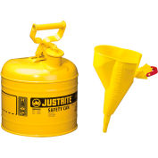 Justrite® Type I Steel Safety Can With Funnel, 2 Gallon (7.5L), Self-Close Lid, Yellow, 7120210