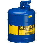 Justrite® Type I Steel Safety Can, 5 Gallon (19L), Self-Close Lid, Blue, 7150300
