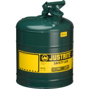 Justrite® Type I Steel Safety Can, 5 Gallon (19L), Self-Close Lid, Green, 7150400