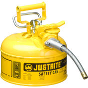 """Justrite® Type II AccuFlow™ Steel Safety Can, 1 Gal., 5/8"""" Metal Hose, Yellow, 7210220"""