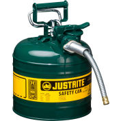 """Justrite® Type II AccuFlow™ Safety Can - 2 Gallon with 5/8"""" Flexible Hose, Green, 7220420"""