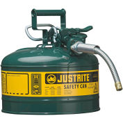 """Justrite® Type II AccuFlow™ Steel Safety Can, 2.5 Gal., 5/8"""" Metal Hose, Green, 7225420"""