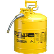 "Justrite® Type II AccuFlow™ Steel Safety Can, 5 Gal., 5/8"" Metal Hose, Yellow, 7250220"