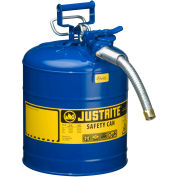 "Justrite® Type II AccuFlow™ Steel Safety Can, 5 Gal., 1"" Metal Hose, Blue, 7250330"