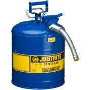 "Justrite® Type II AccuFlow™ Steel Safety Can, 5 Gal., 1"" Metal Hose, Blue, 7250330"