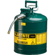 """Justrite® Type II AccuFlow™ Steel Safety Can, 5 Gal., 5/8"""" Metal Hose, Green, 7250420"""