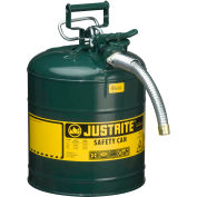 """Justrite® Type II AccuFlow™ Steel Safety Can, 5 Gal., 1"""" Metal Hose, Green, 7250430"""