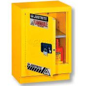 """Justrite 15 Gal. 1 Door Manual Left Hinge, Under Fume Hood Cabinet, 24"""" x 21-5/8"""" x 35-3/4"""", Yellow"""