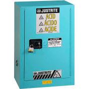 "Justrite 15 Gal. 1 Door, Self-Close, Right Hinge, Fume Hood Acid Cabinet, 24""x21-5/8""x35-3/4"", Blue"