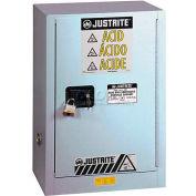 "Justrite 15 Gal. 1 Door, Self-Close,Left Hinge, Fume Hood Acid Cabinet, 24""x21-5/8""x35-3/4"", Silver"