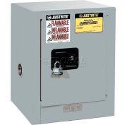"Justrite 4 Gallon 1 Door, Manual, Countertop, Flammable Cabinet, 17""W x 17""D x 22""H, Gray"
