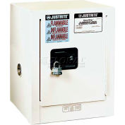 "Justrite 4 Gallon 1 Door, Self-Close, Countertop, Flammable Cabinet, 17""W x 17""D x 22""H, White"