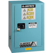 "Justrite 12 Gallon 1 Door, Self-Close, Compac, Acid Corrosive Cabinet, 23-1/4""W x 18""D x 35""H, Blue"