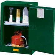 "Justrite 12 Gallon 1 Door, Self-Close, Compac, Pesticide Cabinet, 23-1/4""W x 18""D x 35""H, Green"