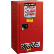 "Justrite 20 Gallon 1 Door, Manual, Paint & Ink Cabinet, 23-1/4""W x 18""D x 44""H, Red"
