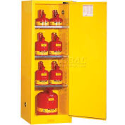 "Justrite 22 Gallon 1 Door, Self-Close, Slimline, Flammable Cabinet, 23-1/4""W x 18""D x 65""H, Gray"