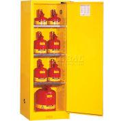 "Justrite 22 Gallon 1 Door, Self-Close, Slimline, Flammable Cabinet, 23-1/4""W x 18""D x 65""H, White"