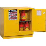 "Justrite 22 Gallon 2 Door, Self-Close, Undercounter, Flammable Cabinet, 35""W x 22""D x 35""H, Gray"
