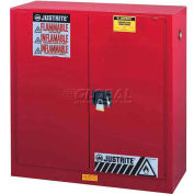 "Justrite 30 Gallon 2 Door, Self-Close, Flammable Cabinet, 43""W x 18""D x 44""H, Red"
